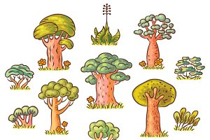 Cute Cartoon Trees Set, Hand Drawn