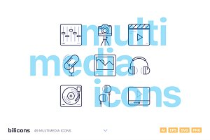 49 Multimedia Line Icons