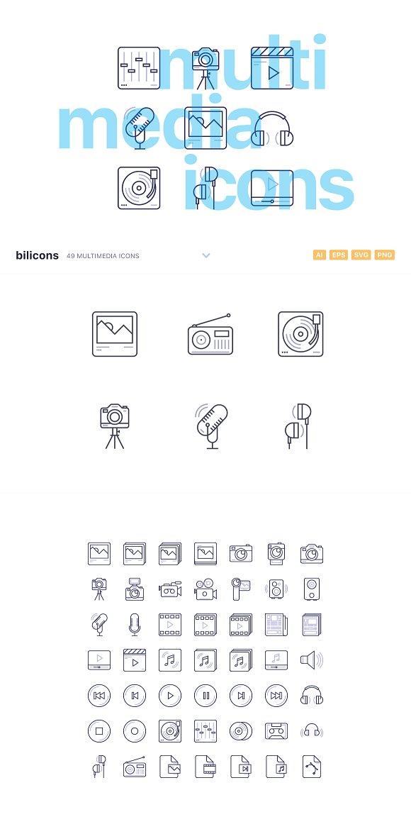 49 Multimedia Line Icons