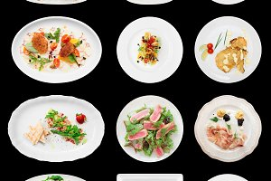 Set of fish and seafood dishes