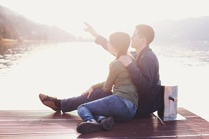 Romantic couple enjoying sunset