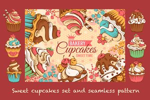 Sweet cupcakes vector set