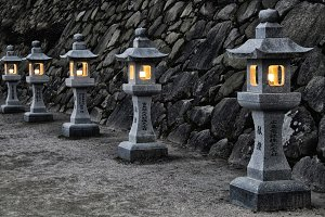 Traditional Japanese stone lanterns
