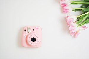 Hero image Pink Camera and tulips