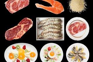 Set of raw foods