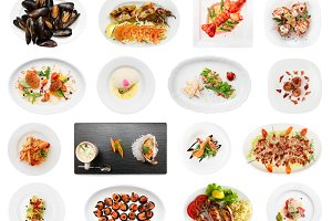 Set of various fish dishes