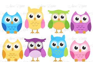 Colorful Owls - Cute bird Clip art