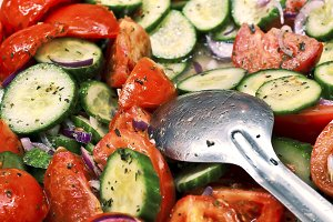 Cucumber salad and tomato
