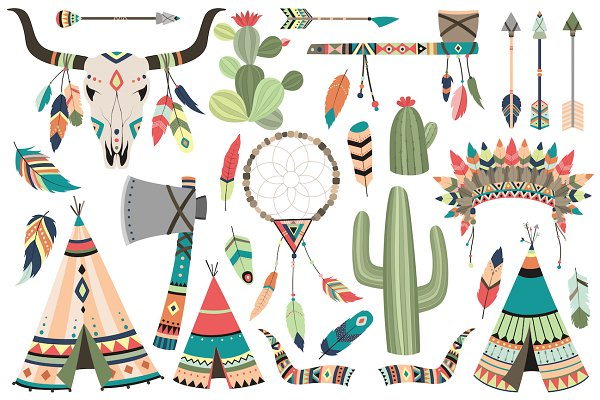 Tribal Clip Art Vector & PNG Set