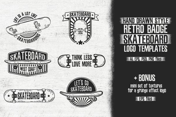 Retro skateboard   Template logo se…