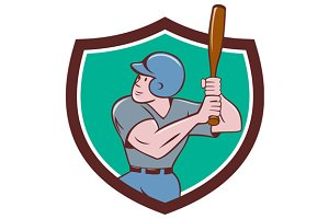 Baseball Player Batting Crest