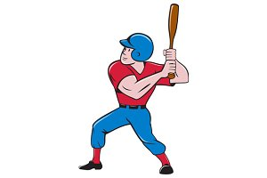 Baseball Player Batting Isolated