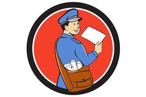 Mailman Deliver Letter Circle