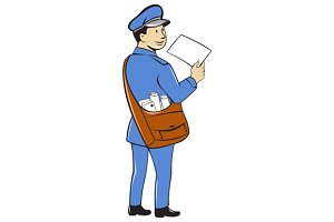 Mailman Deliver Letter Isolated
