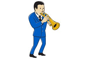 Musician Playing Trumpet Cartoon