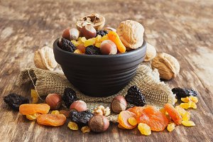 various dried fruits and nuts