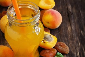 apricot juice in small jars