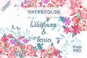 Wildflowers and berries watercolor