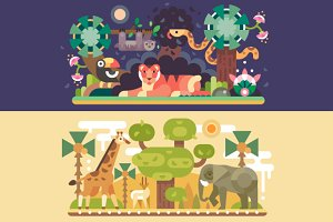 Desert and Jungle African Animals.