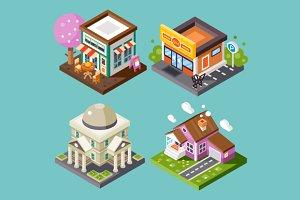 Nice City Isometric Buildings Set!