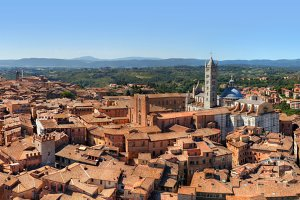 Panorama of Siena, Italy.