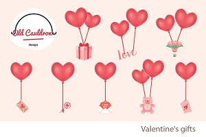 Valentine's balloons clipart CL021