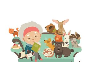 Grandma with her cats and dogs