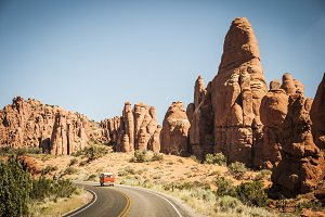 Orange VW Bus - Arches National Park
