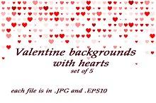 Valentine backgrounds, set of 5 pcs