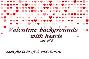 Valentine backgrounds, set of 5 pcs