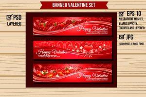 Three Red Valentine Banners