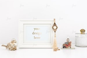White frame golden mockup ♥