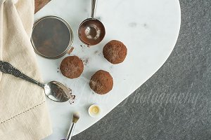Chocolate truffles styled photo