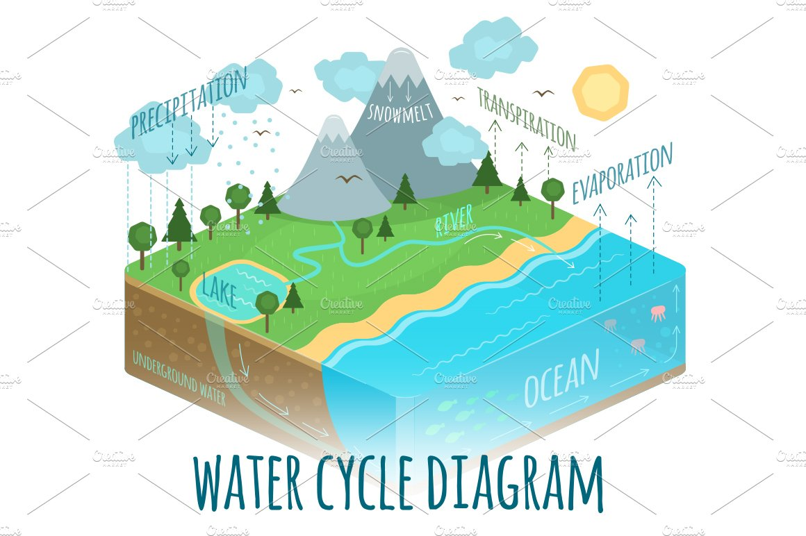 water cycle diagram sun water cycle diagram ~ illustrations ~ creative market