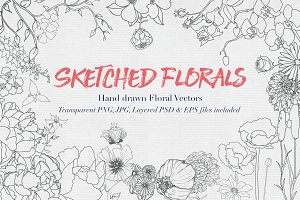 Hand drawn Sketched Flower Vectors
