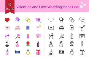 Valentine and Love Wedding Icons