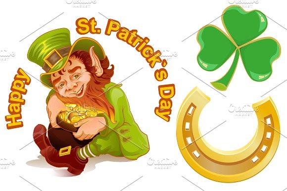 Patricks Day. Leprechaun and gold
