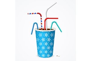 Drinking Straw and Cup. Vector