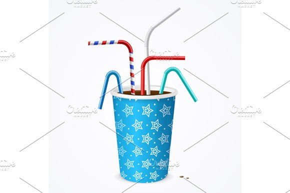 Drinking Straw and Cup. Vector in Illustrations