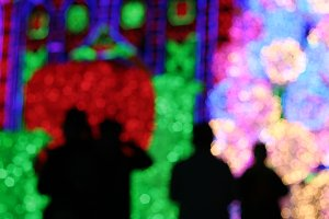 silhouette of people at light show