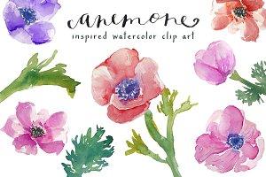 Watercolor Anemones Clip Art