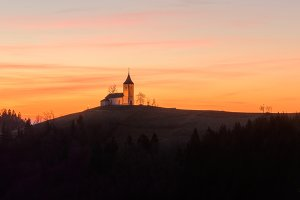 Church at the hill at sunrise