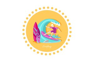 Surfing Sport Icon Flat Design
