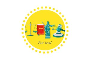 Fair Trial Concept Icon Flat Design