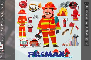 Firefighter - vector illustration