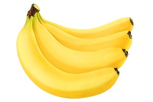 Isolated bunch of bananas