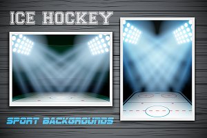 Night Ice Hockey arena in lights