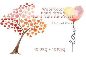 Watercolor Saint Valentine's Set