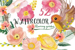 Watercolor blooming garden