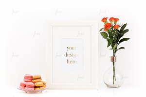 Frame mockup Pink and Orange macaron